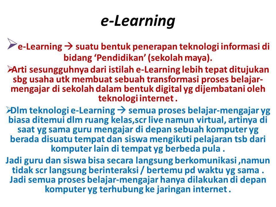 e-Learning e-Learning  suatu bentuk penerapan teknologi informasi di bidang 'Pendidikan' (sekolah maya).
