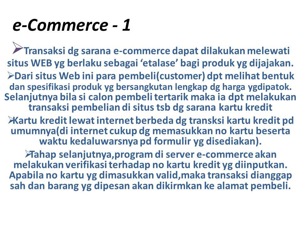 e-Commerce - 1 Transaksi dg sarana e-commerce dapat dilakukan melewati situs WEB yg berlaku sebagai 'etalase' bagi produk yg dijajakan.