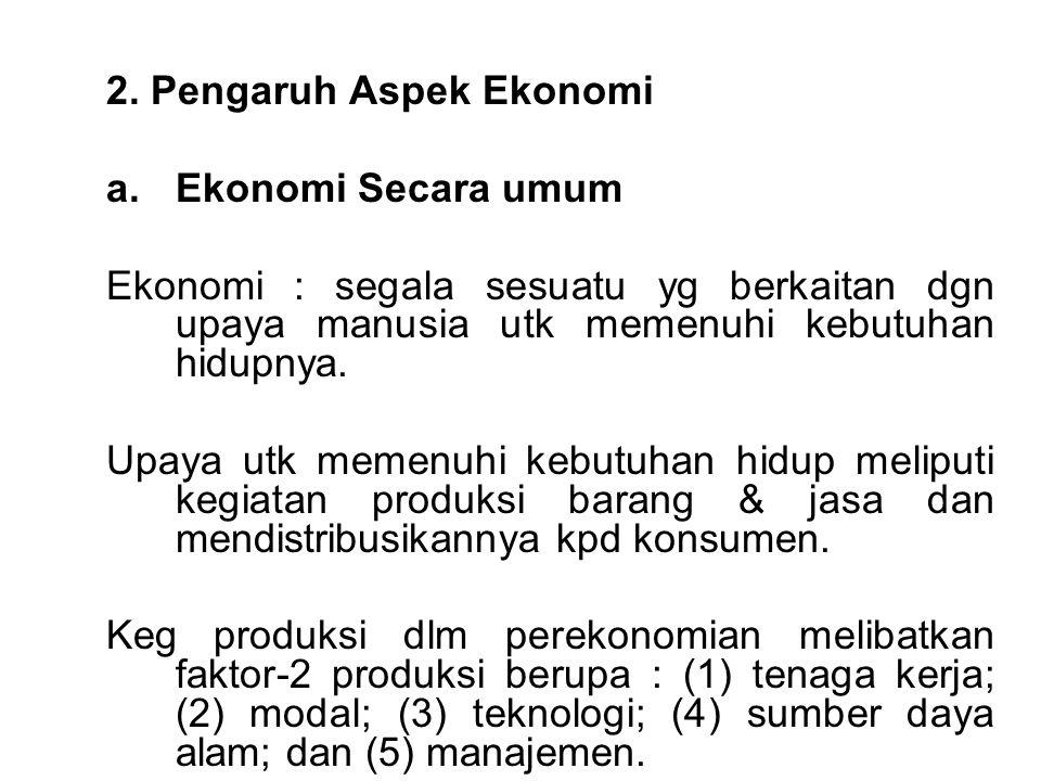 2. Pengaruh Aspek Ekonomi