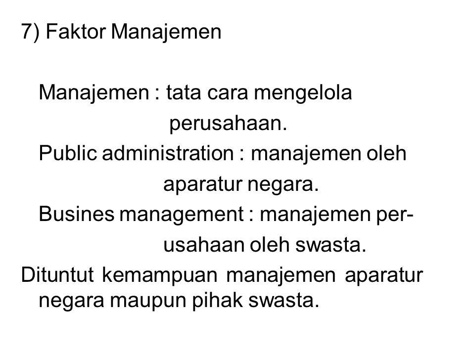 7) Faktor Manajemen Manajemen : tata cara mengelola. perusahaan. Public administration : manajemen oleh.