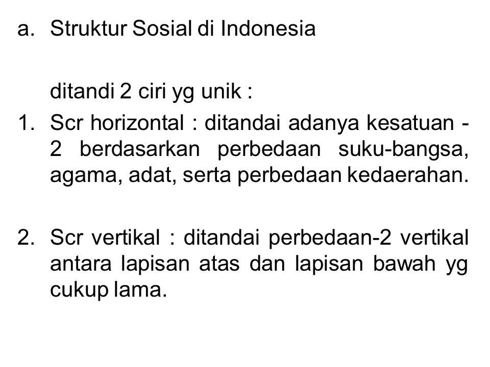 Struktur Sosial di Indonesia