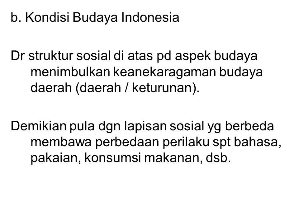 b. Kondisi Budaya Indonesia