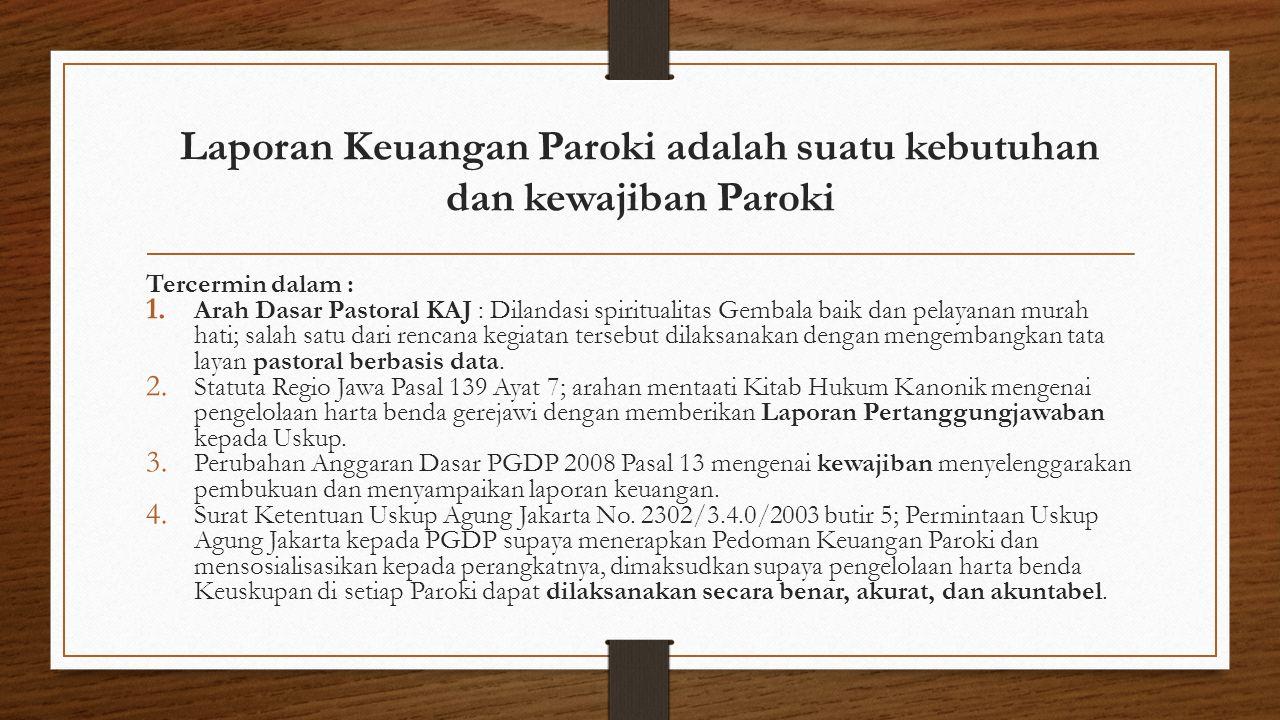 Laporan Keuangan Paroki adalah suatu kebutuhan dan kewajiban Paroki
