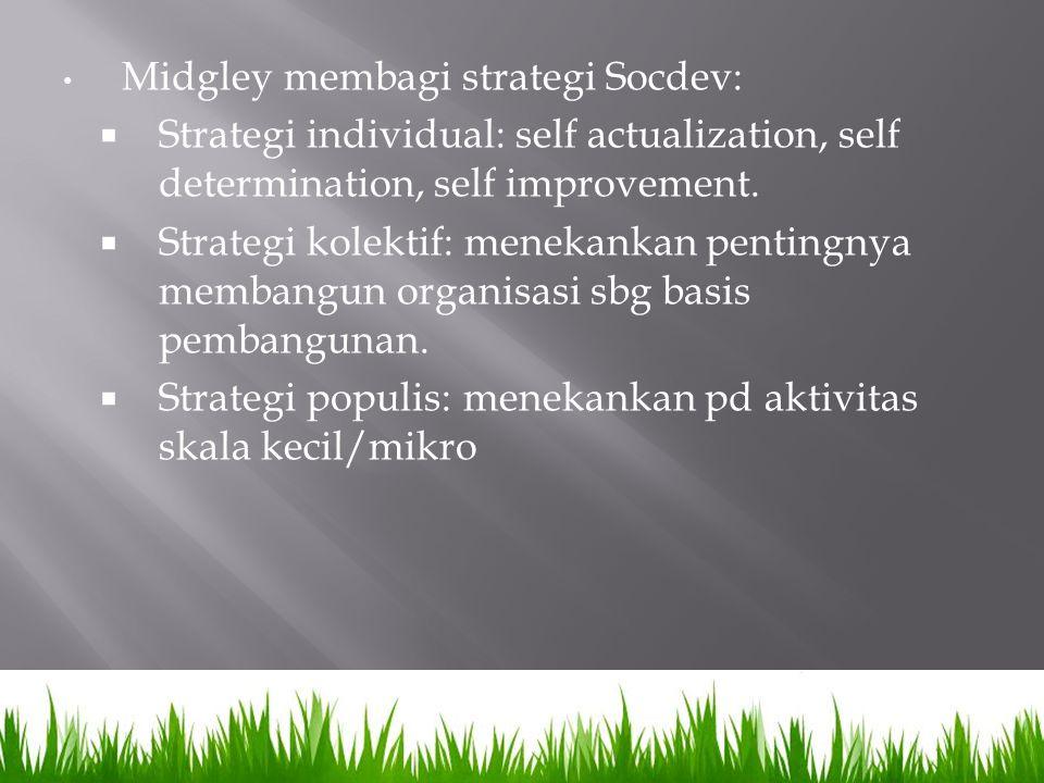Midgley membagi strategi Socdev: