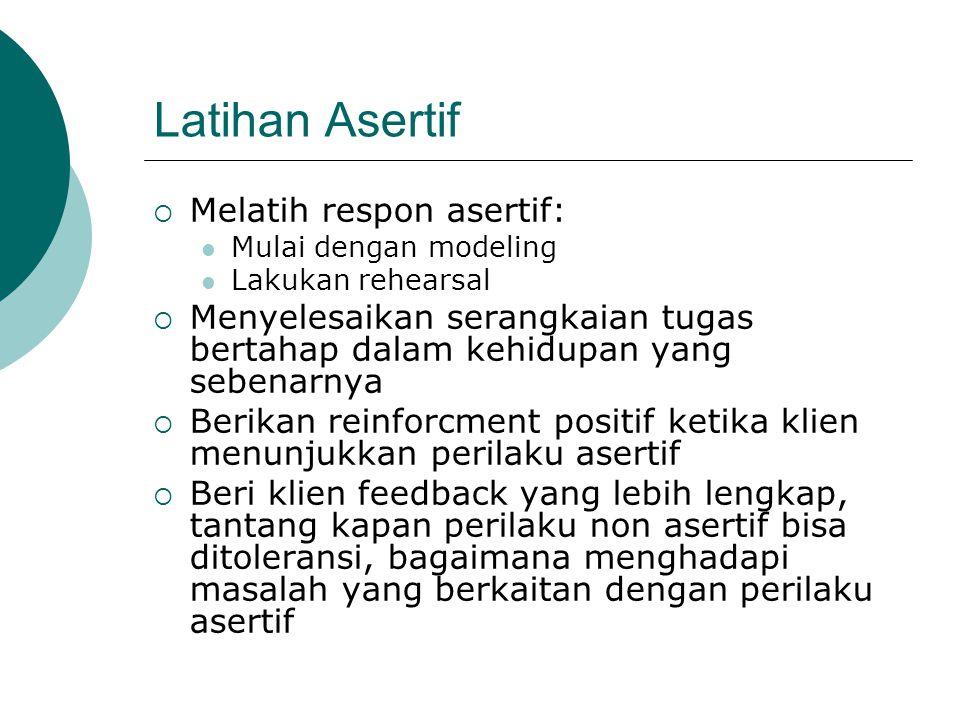 Latihan Asertif Melatih respon asertif: