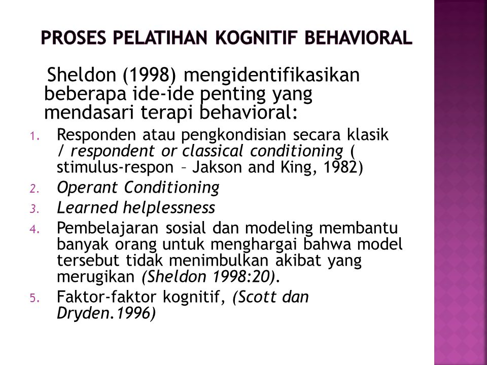 Proses Pelatihan Kognitif Behavioral