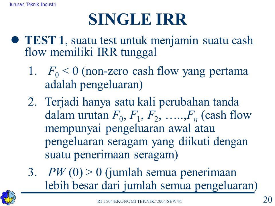 SINGLE IRR TEST 1, suatu test untuk menjamin suatu cash flow memiliki IRR tunggal. F0 < 0 (non-zero cash flow yang pertama adalah pengeluaran)