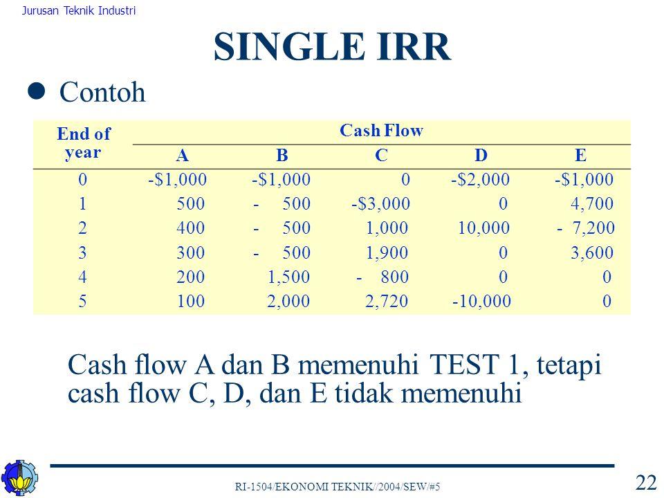 SINGLE IRR Contoh. Cash flow A dan B memenuhi TEST 1, tetapi cash flow C, D, dan E tidak memenuhi.