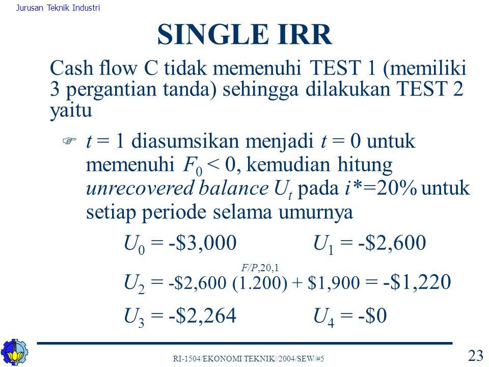 SINGLE IRR Cash flow C tidak memenuhi TEST 1 (memiliki 3 pergantian tanda) sehingga dilakukan TEST 2 yaitu.
