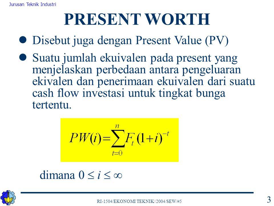 PRESENT WORTH Disebut juga dengan Present Value (PV)