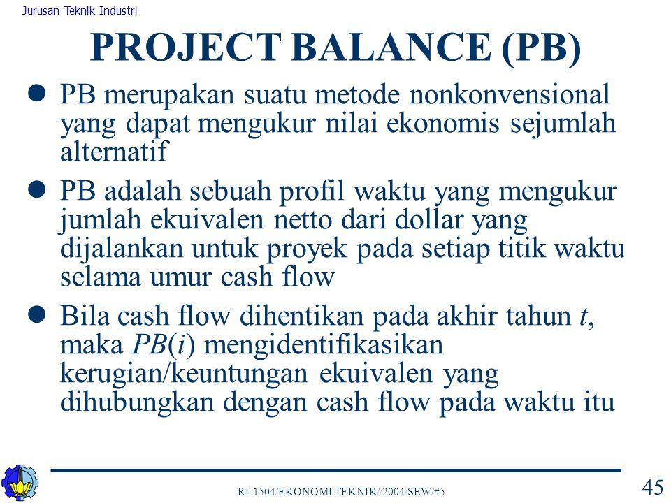 PROJECT BALANCE (PB) PB merupakan suatu metode nonkonvensional yang dapat mengukur nilai ekonomis sejumlah alternatif.