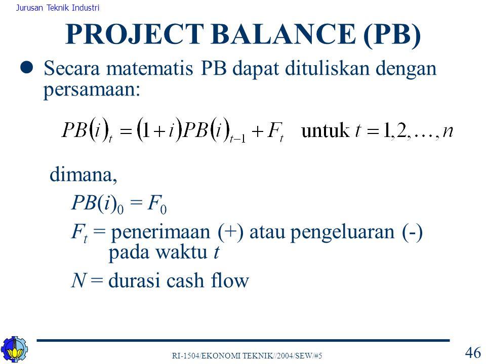 PROJECT BALANCE (PB) Secara matematis PB dapat dituliskan dengan persamaan: dimana, PB(i)0 = F0.