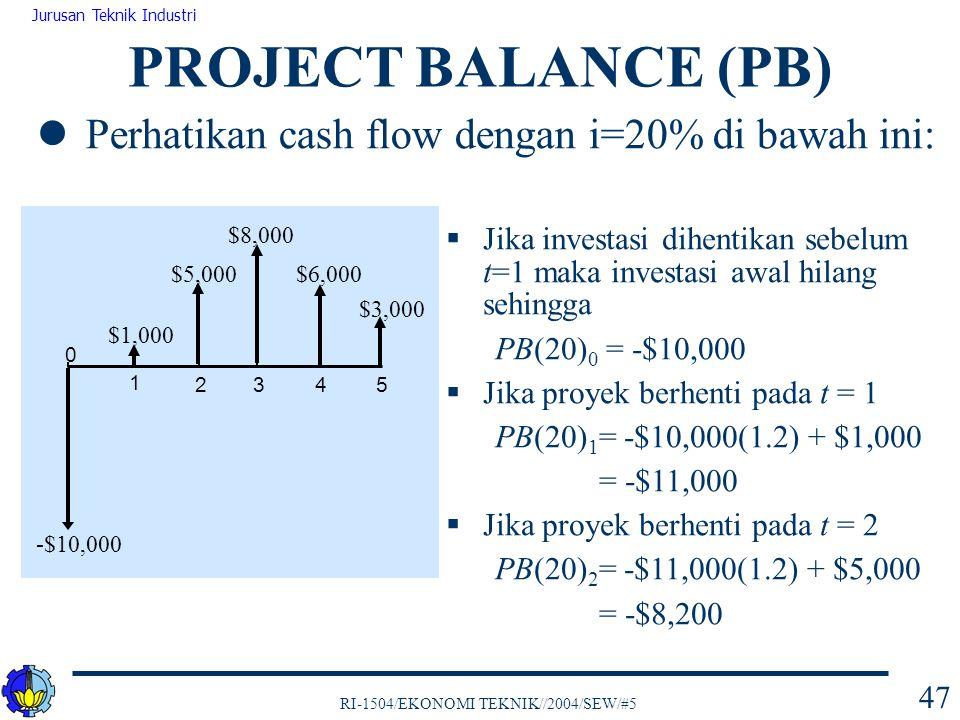 PROJECT BALANCE (PB) Perhatikan cash flow dengan i=20% di bawah ini: