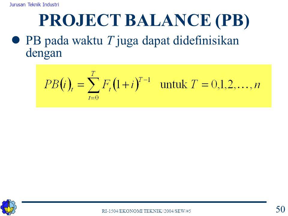 PROJECT BALANCE (PB) PB pada waktu T juga dapat didefinisikan dengan