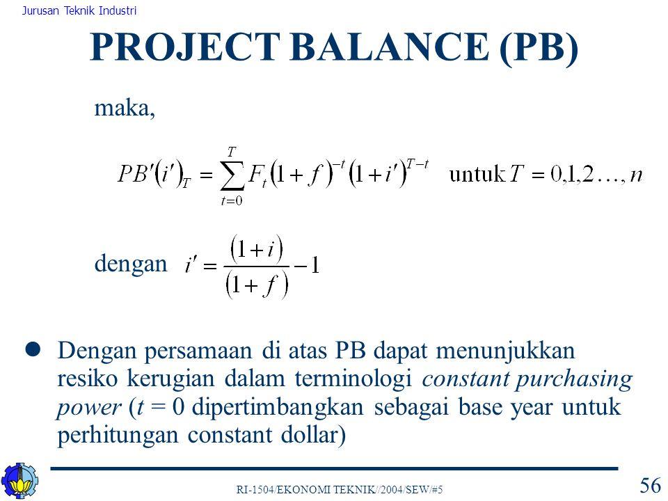 PROJECT BALANCE (PB) maka, dengan