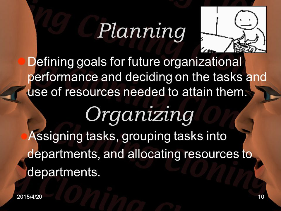 Planning Defining goals for future organizational performance and deciding on the tasks and use of resources needed to attain them.