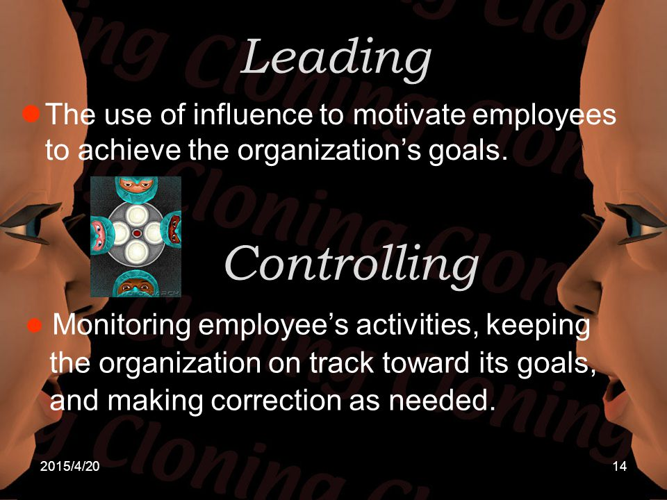 Leading The use of influence to motivate employees to achieve the organization's goals. Controlling.