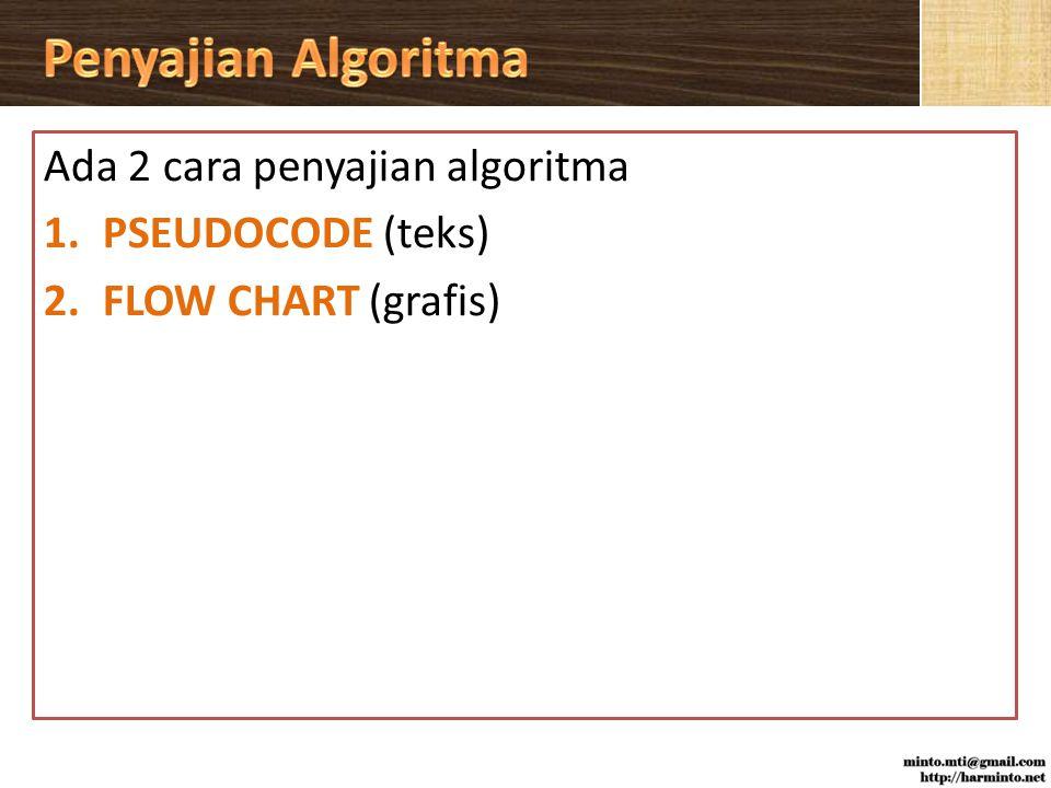 Penyajian Algoritma Ada 2 cara penyajian algoritma PSEUDOCODE (teks)