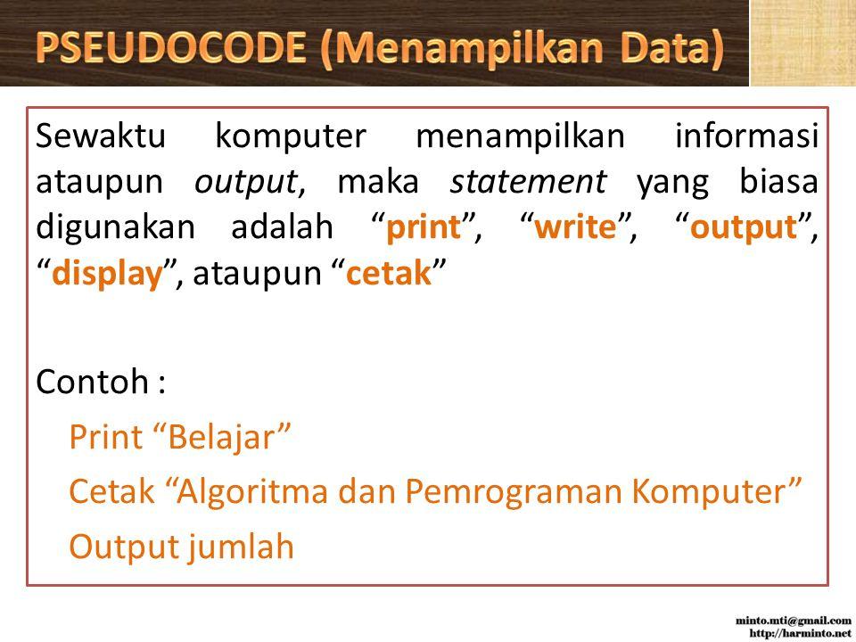 PSEUDOCODE (Menampilkan Data)