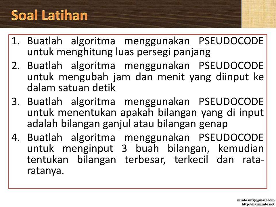 Soal Latihan Buatlah algoritma menggunakan PSEUDOCODE untuk menghitung luas persegi panjang.