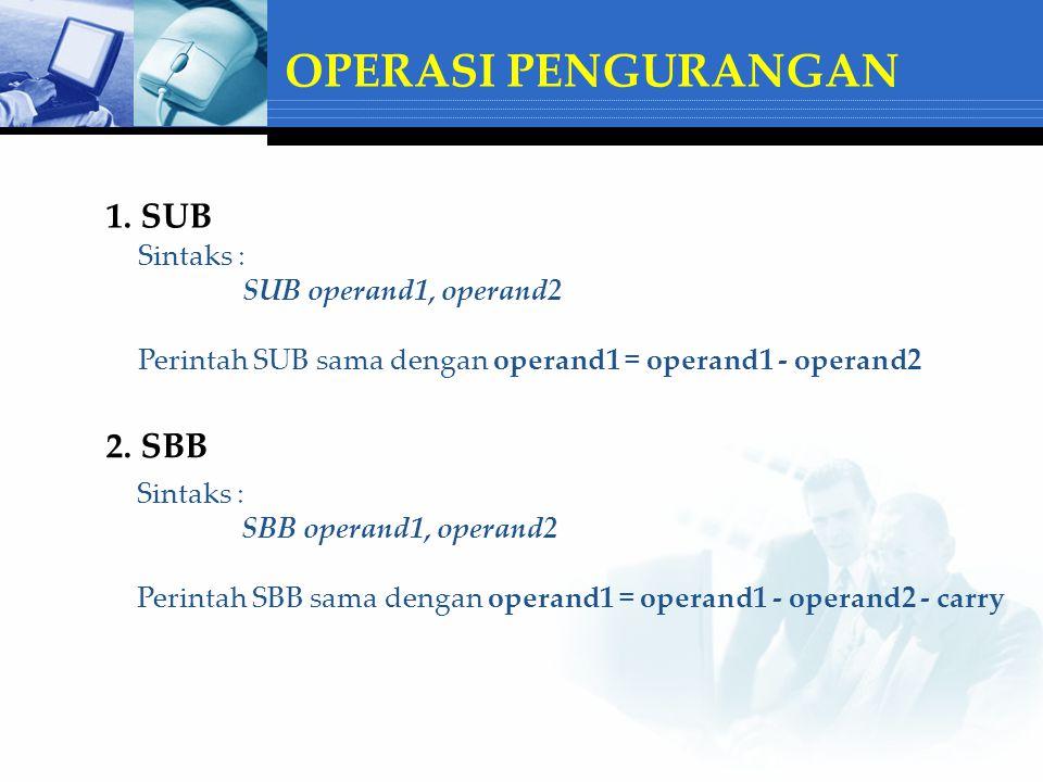 OPERASI PENGURANGAN 1. SUB 2. SBB Sintaks : SUB operand1, operand2