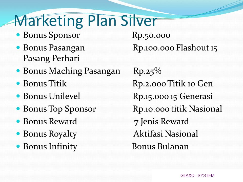 Marketing Plan Silver Bonus Sponsor Rp.50.000
