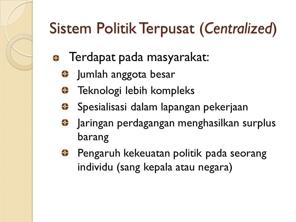 Sistem Politik Terpusat (Centralized)