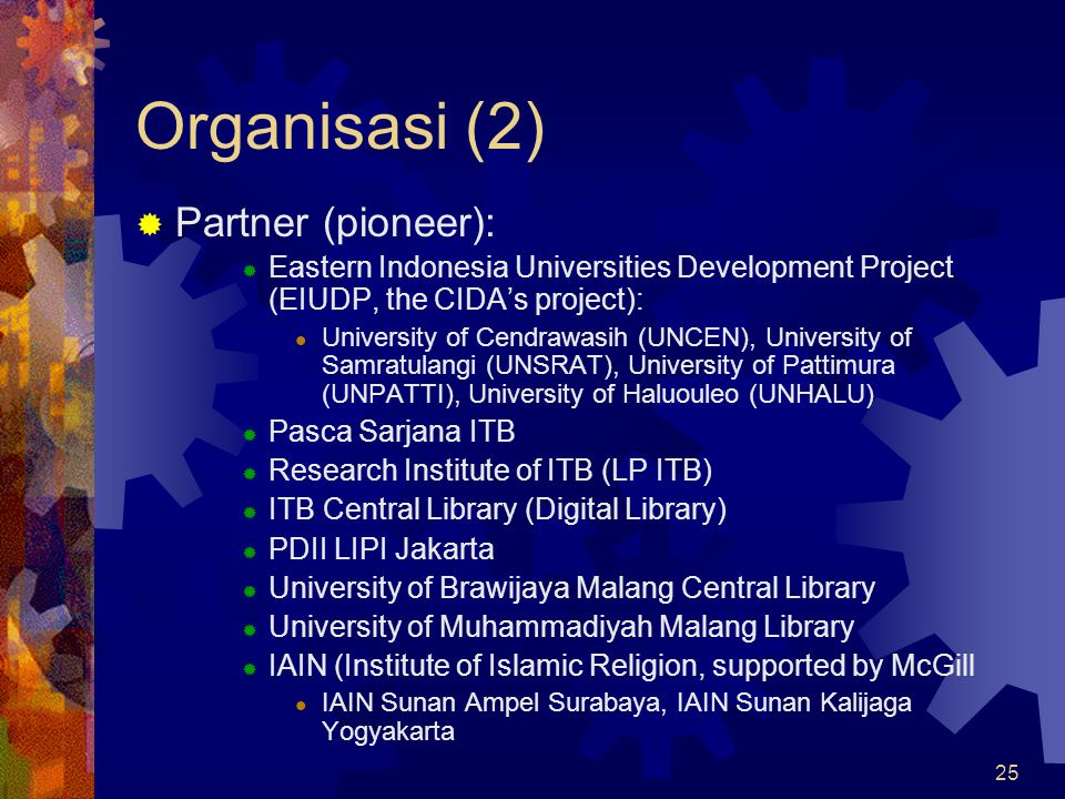 Organisasi (2) Partner (pioneer):