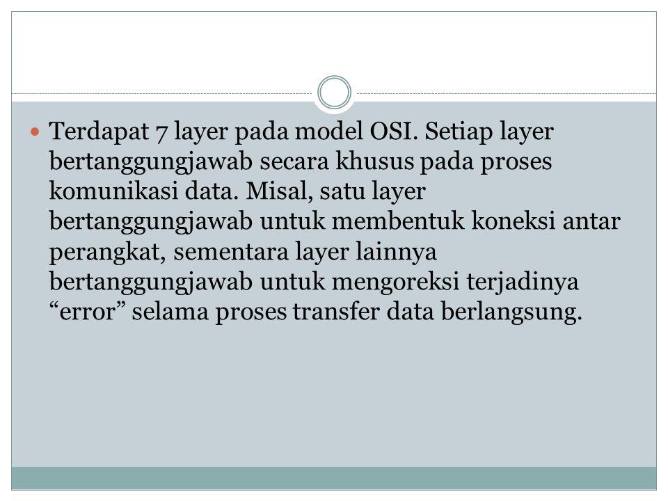Terdapat 7 layer pada model OSI