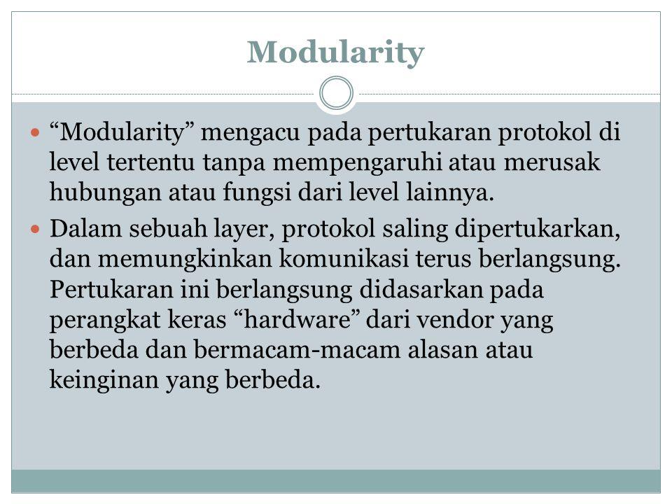 Modularity Modularity mengacu pada pertukaran protokol di level tertentu tanpa mempengaruhi atau merusak hubungan atau fungsi dari level lainnya.