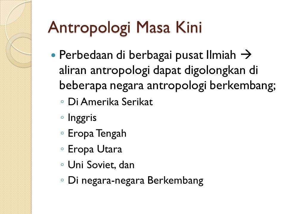 Antropologi Masa Kini Perbedaan di berbagai pusat Ilmiah  aliran antropologi dapat digolongkan di beberapa negara antropologi berkembang;