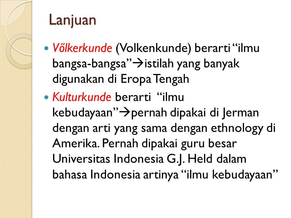 Lanjuan Vőlkerkunde (Volkenkunde) berarti ilmu bangsa-bangsa istilah yang banyak digunakan di Eropa Tengah.