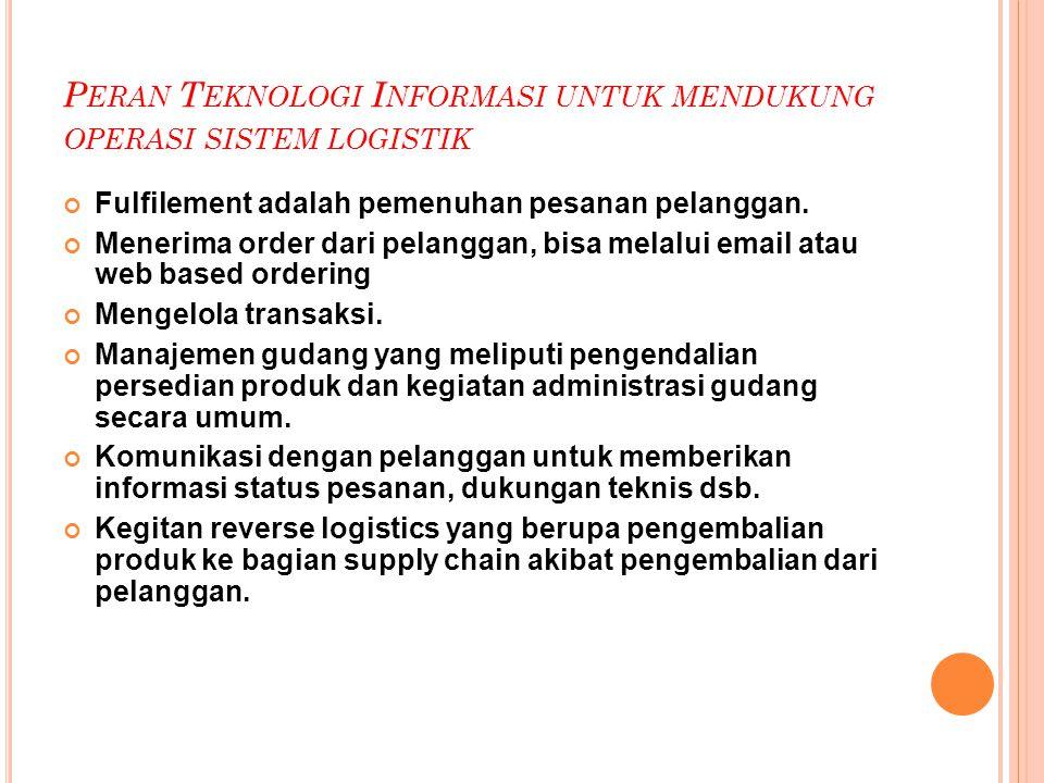 Peran Teknologi Informasi untuk mendukung operasi sistem logistik
