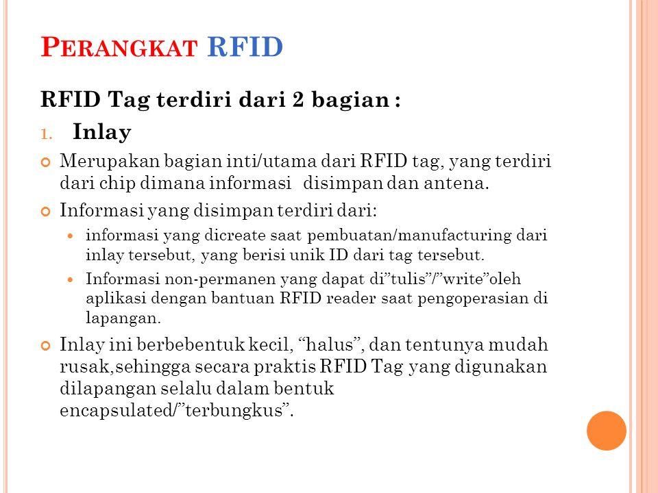 Perangkat RFID RFID Tag terdiri dari 2 bagian : Inlay
