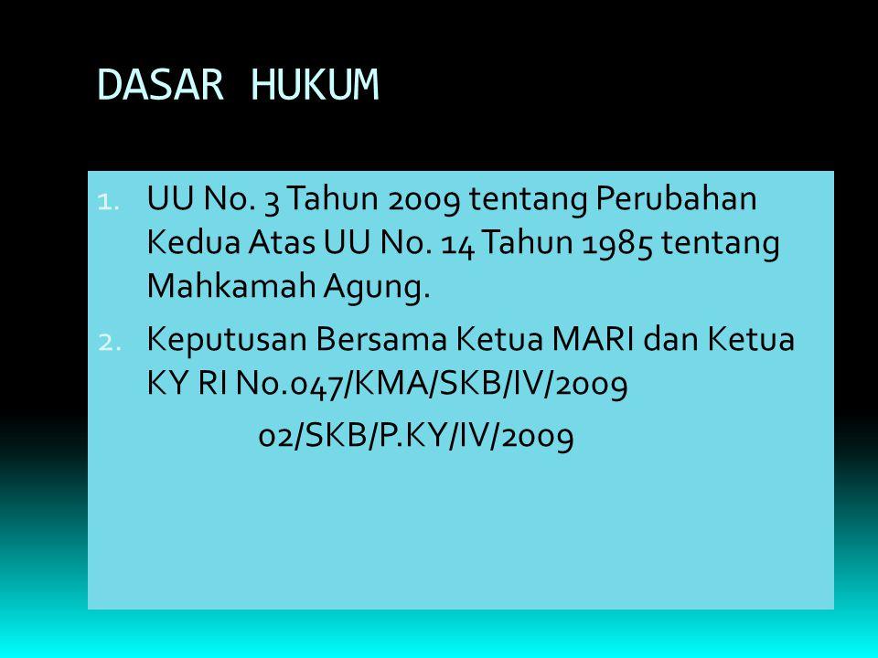 DASAR HUKUM UU No. 3 Tahun 2009 tentang Perubahan Kedua Atas UU No. 14 Tahun 1985 tentang Mahkamah Agung.