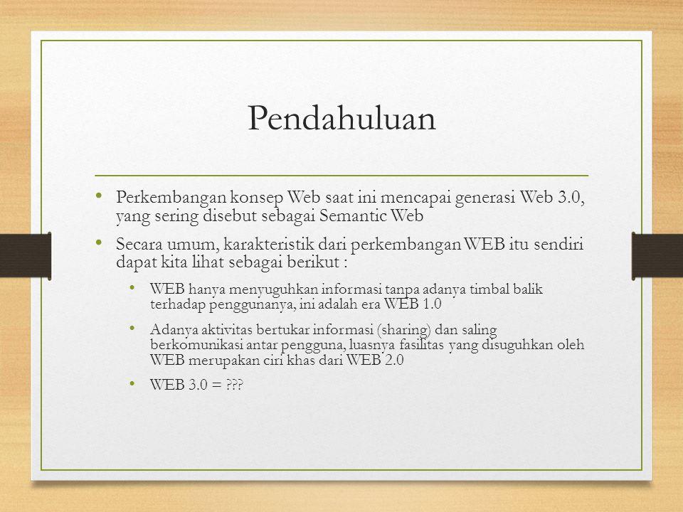 Pendahuluan Perkembangan konsep Web saat ini mencapai generasi Web 3.0, yang sering disebut sebagai Semantic Web.