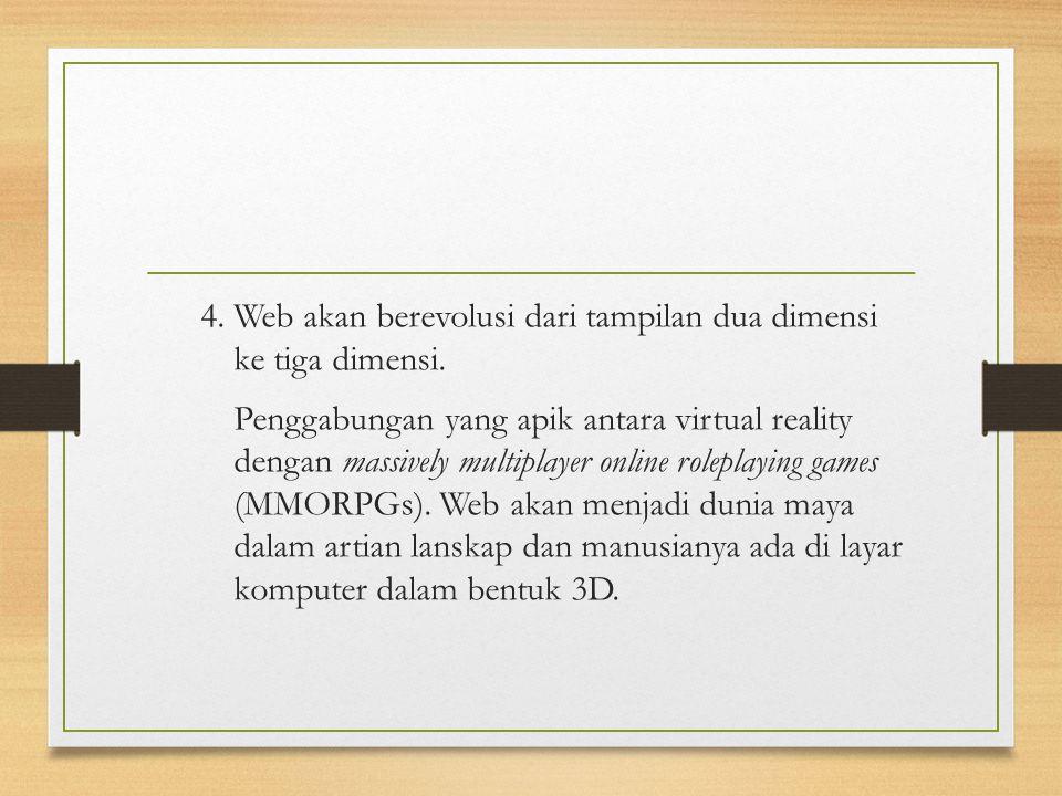 4. Web akan berevolusi dari tampilan dua dimensi ke tiga dimensi.