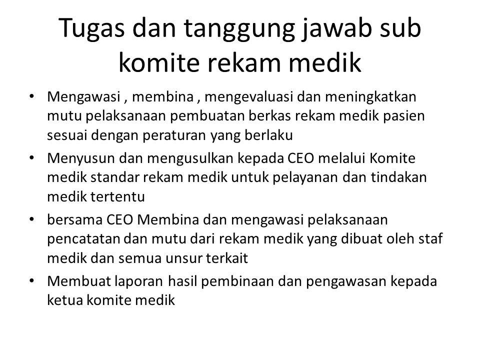 Tugas dan tanggung jawab sub komite rekam medik
