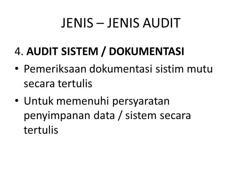 JENIS – JENIS AUDIT 4. AUDIT SISTEM / DOKUMENTASI