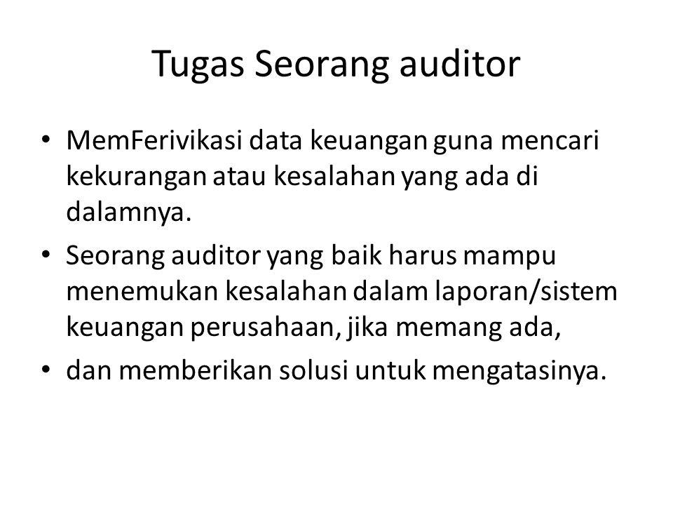 Tugas Seorang auditor MemFerivikasi data keuangan guna mencari kekurangan atau kesalahan yang ada di dalamnya.