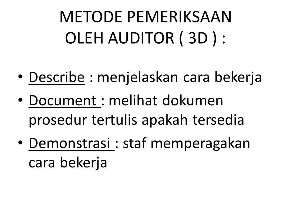 METODE PEMERIKSAAN OLEH AUDITOR ( 3D ) :