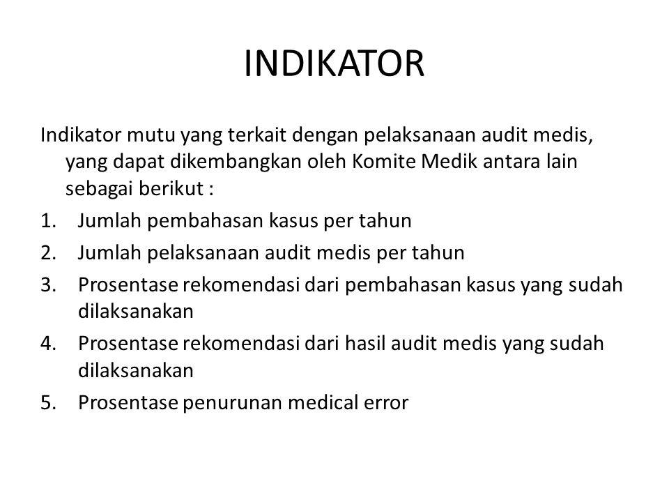 INDIKATOR Indikator mutu yang terkait dengan pelaksanaan audit medis, yang dapat dikembangkan oleh Komite Medik antara lain sebagai berikut :