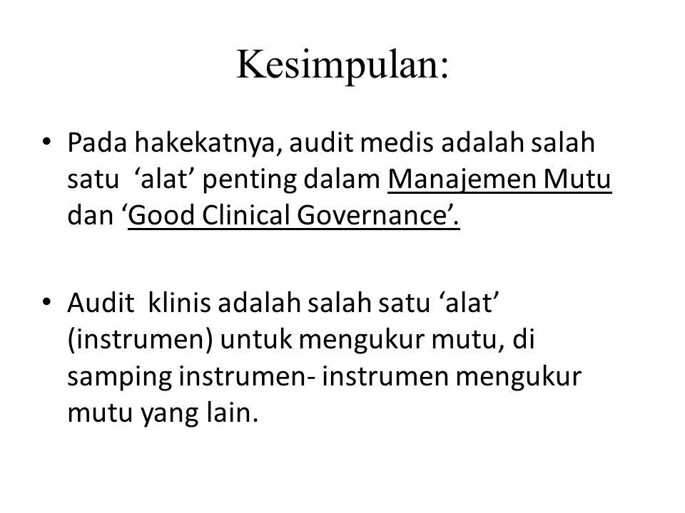 Kesimpulan: Pada hakekatnya, audit medis adalah salah satu 'alat' penting dalam Manajemen Mutu dan 'Good Clinical Governance'.