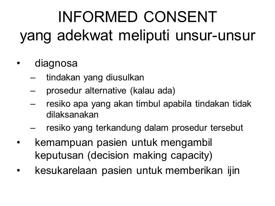 INFORMED CONSENT yang adekwat meliputi unsur-unsur