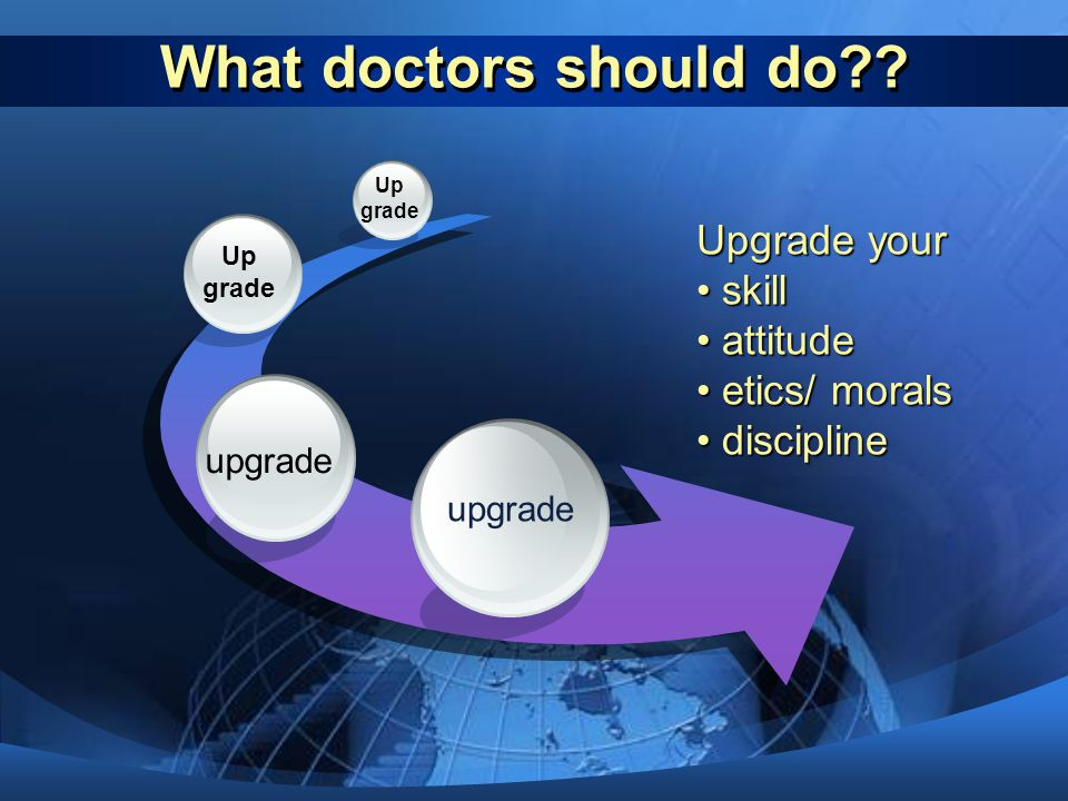 What doctors should do Upgrade your skill attitude etics/ morals