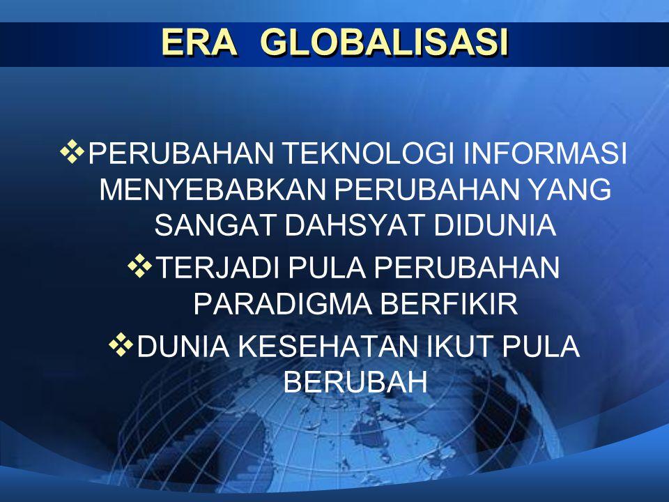 ERA GLOBALISASI PERUBAHAN TEKNOLOGI INFORMASI MENYEBABKAN PERUBAHAN YANG SANGAT DAHSYAT DIDUNIA. TERJADI PULA PERUBAHAN PARADIGMA BERFIKIR.