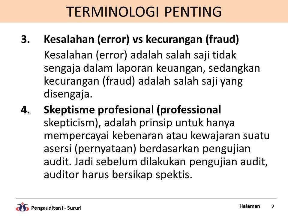 TERMINOLOGI PENTING Kesalahan (error) vs kecurangan (fraud)