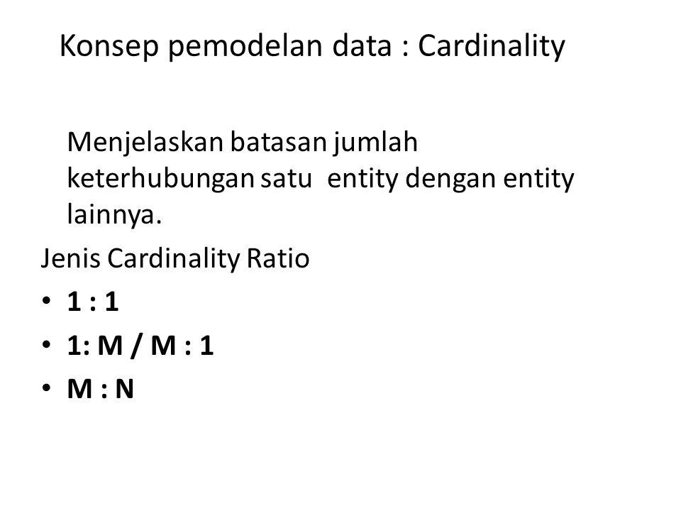Konsep pemodelan data : Cardinality