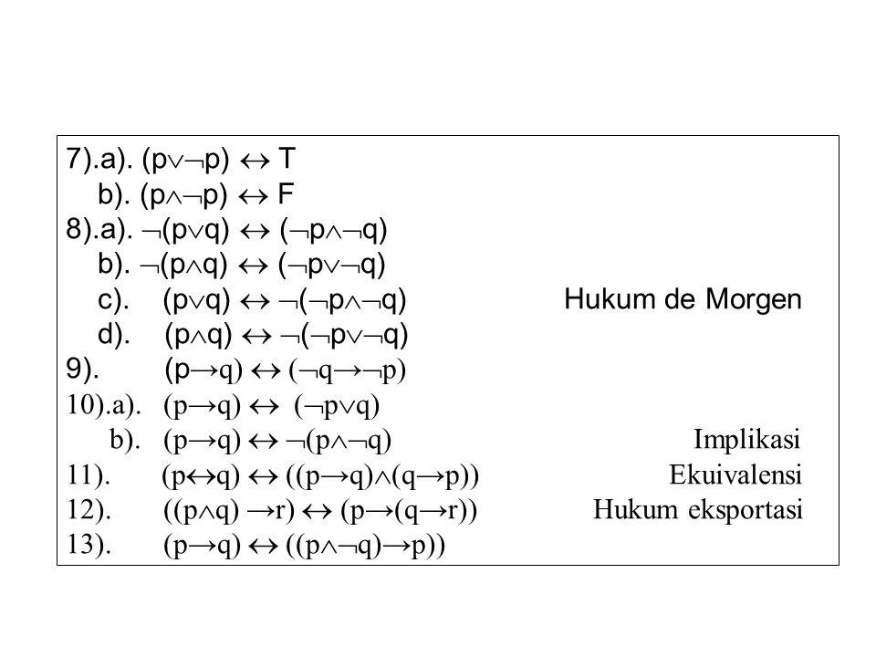 7).a). (pp)  T b). (pp)  F. 8).a). (pq)  (pq) b). (pq)  (pq) c). (pq)  (pq) Hukum de Morgen.