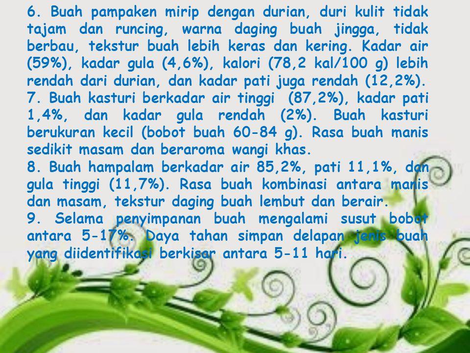 6. Buah pampaken mirip dengan durian, duri kulit tidak tajam dan runcing, warna daging buah jingga, tidak berbau, tekstur buah lebih keras dan kering. Kadar air (59%), kadar gula (4,6%), kalori (78,2 kal/100 g) lebih rendah dari durian, dan kadar pati juga rendah (12,2%).